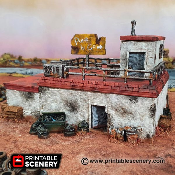 Wasteworld Derelict gas station Gaslands fallout wasteland warfare Wasteworld