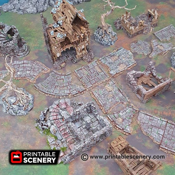 3d printable Modular Roads of Ruin warhammer dungeons and dragons mordheim frostgrave