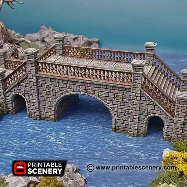 3D printed Arcanist's Stone Bridge Warhammer Dungeons and Dragons Frostgrave