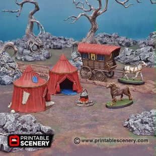 Shadowfey Wilds traveler's Camp Frostgrave Mordheim Age of Sigmar Warhammer Skirmish