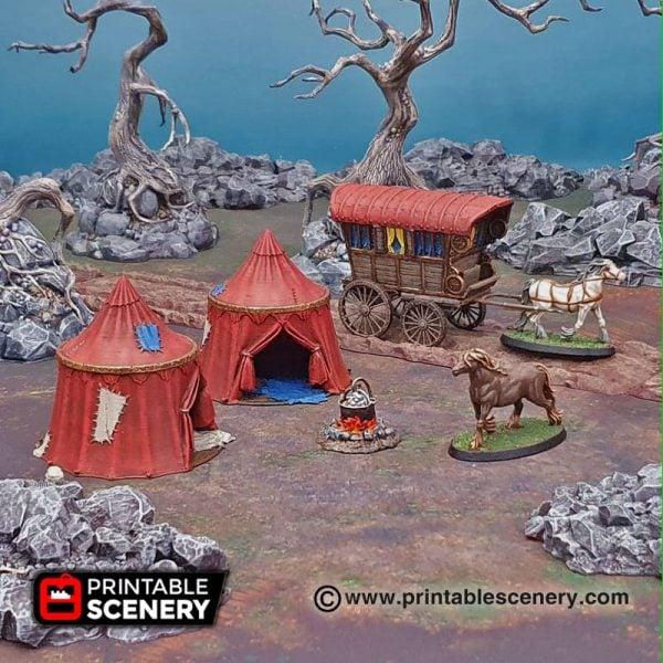 Shadowfey Wilds traveler's Camp Frostgrave Mordheim Age of Sigmar Warhammer Skirmish