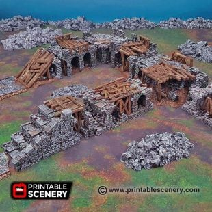 3D printable bridge span ruins Warhammer Dungeons and Dragons Frostgrave mordheim