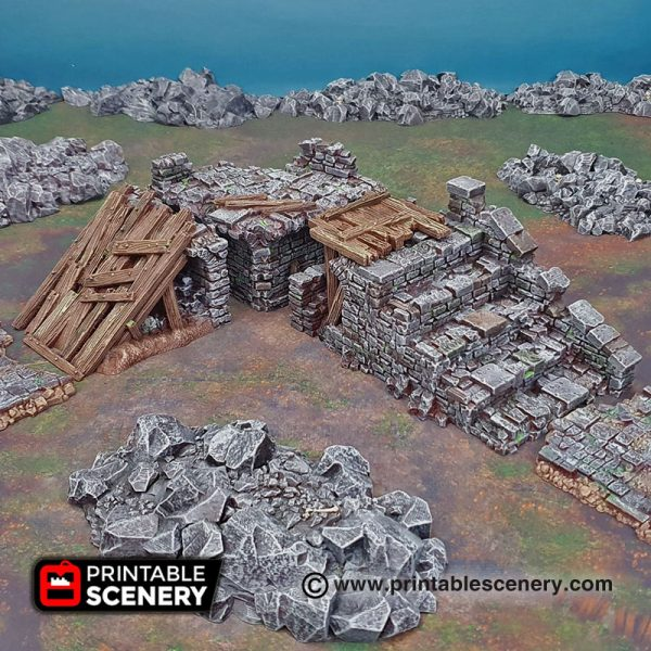 3D printable bridge span ruins Warhammer Dungeons and Dragons Frostgrave mordheim