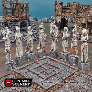 3D printable guardian statues Warhammer Dungeons and Dragons Frostgrave mordheim