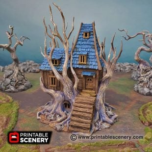3D Printed Feywild Cabin Treehouse Age of Sigmar Dungeons and Dragons