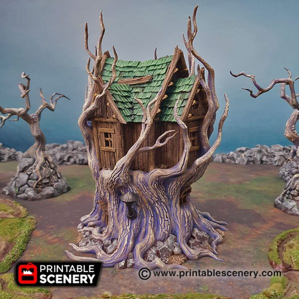 3D Printed Feywild Cottage Treehouse Age of Sigmar Dungeons and Dragons