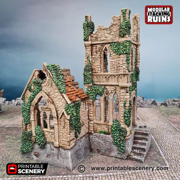 3d Ruined Bell Tower & Sept Age of Sigmar Dnd Dungeons and Dragons frostgrave mordhiem tabletop games
