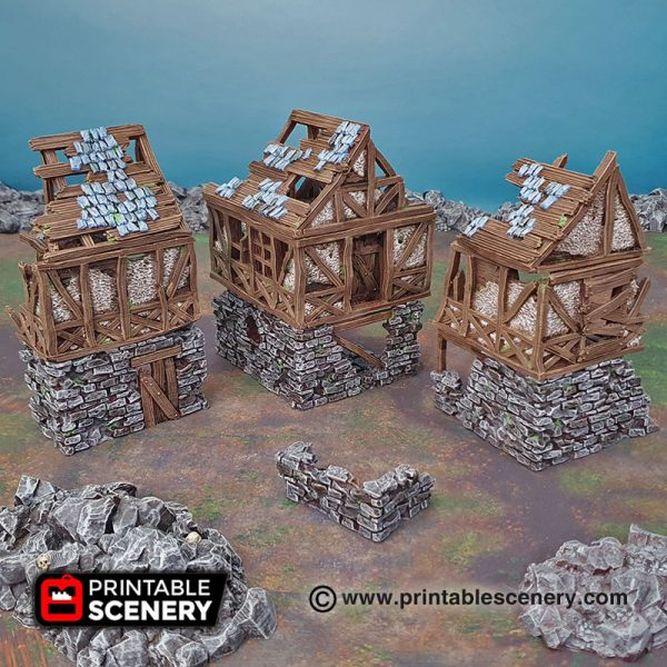 3D Printed ruined quarters age of sigmar Dungeons and Dragons mordhiem frostgrave
