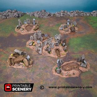 3d Printed Hallowed Graveyard Hills Age of Sigmar Dnd Dungeons and Dragons frostgrave mordhiem tabletop games