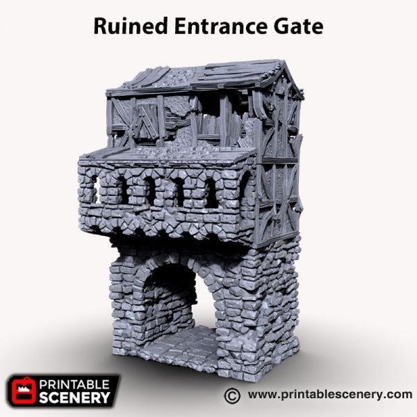 3d printed ruined entrance gate Age of Sigmar Dnd Dungeons and Dragons frostgrave mordhiem tabletop games