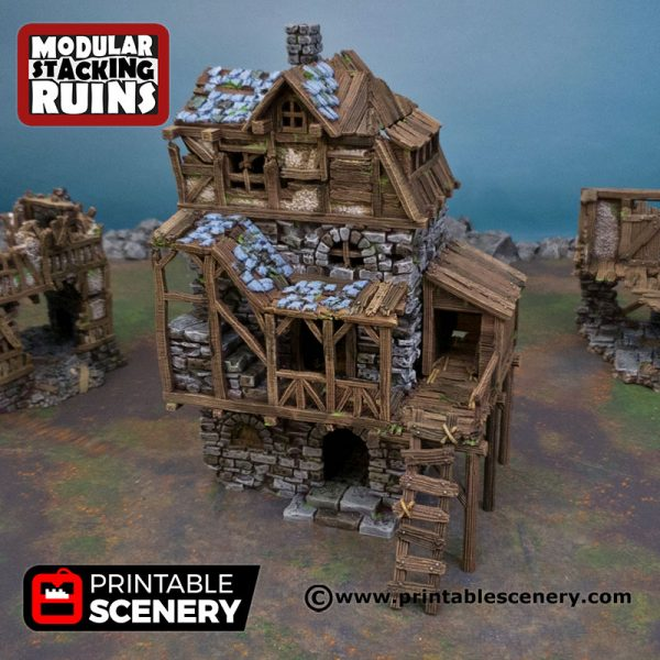 3D Printed Ruined Gatehouse East Wing Age of Sigmar Dnd Dungeons and Dragons frostgrave mordheim tabletop games
