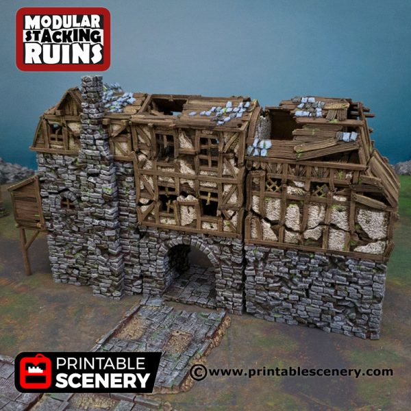 3D Printed Ruined Gatehouse Age of Sigmar Dnd Dungeons and Dragons frostgrave mordheim tabletop games