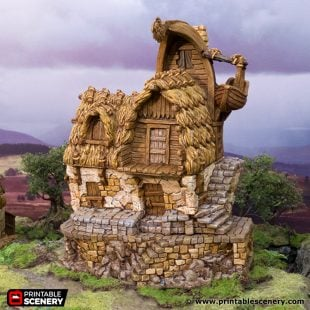 3D Printed Hagglethorn Hollow Fishermans Hut Age of Sigmar Dnd Dungeons and Dragons frostgrave mordheim tabletop games kings of war warhammer 9th age pathfinder rangers of shadowdeep
