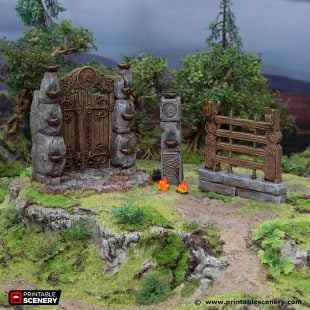 3D Printed Hagglethorn Hollow Wandering Woods Gate and Fences Age of Sigmar Dnd Dungeons and Dragons frostgrave mordheim tabletop games kings of war warhammer 9th age pathfinder rangers of shadowdeep