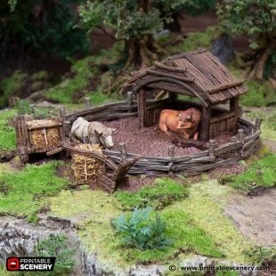 3D Printed Hagglethorn Hollow Oxen Enclosure Age of Sigmar Dnd Dungeons and Dragons frostgrave mordheim tabletop games kings of war warhammer 9th age pathfinder rangers of shadowdeep