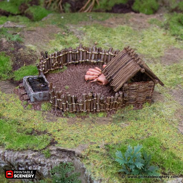 3D Printed Hagglethorn Hollow Pig Pen Age of Sigmar Dnd Dungeons and Dragons frostgrave mordheim tabletop games kings of war warhammer 9th age pathfinder rangers of shadowdeep