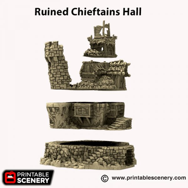 3d printed Ruined Chieftains Hall Hagglethorn hollow