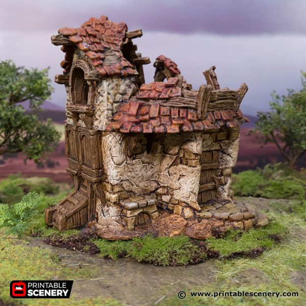 3D Printed Hagglethorn Hollow Ruined Cottage Age of Sigmar Dnd Dungeons and Dragons frostgrave mordheim tabletop games kings of war warhammer 9th age pathfinder rangers of shadowdeep