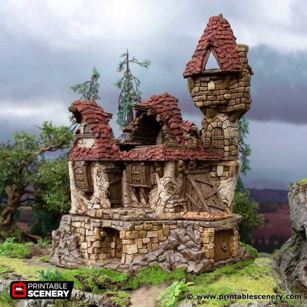 3D Printed Hagglethorn Hollow Ruined Guildhall Age of Sigmar Dnd Dungeons and Dragons frostgrave mordheim tabletop games kings of war warhammer 9th age pathfinder rangers of shadowdeep