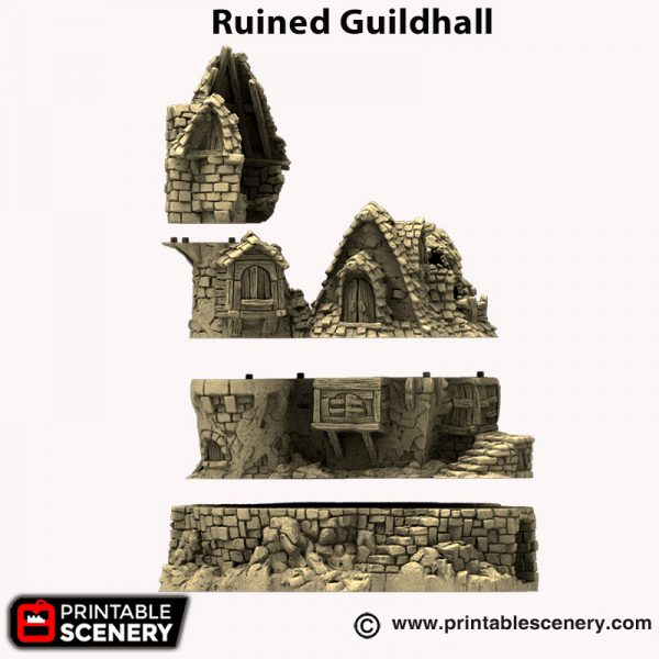 3d printed Ruined Guildhall Hagglethorn Hollow