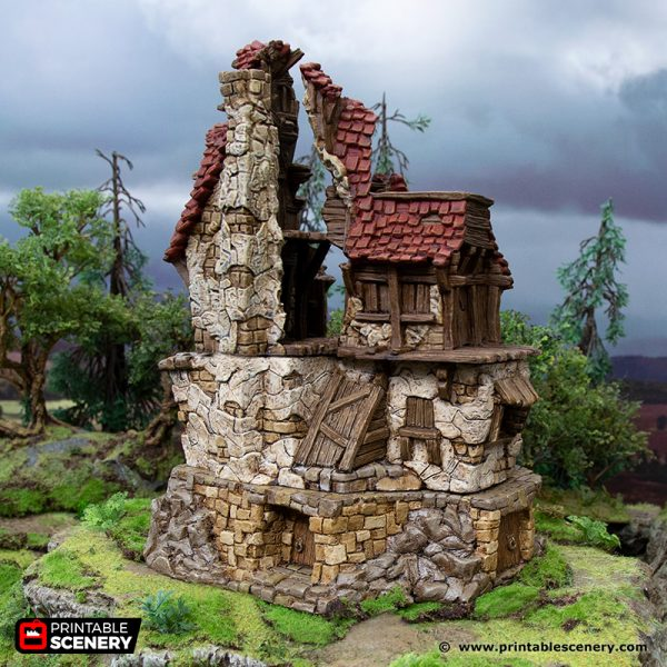 3D Printed Hagglethorn Hollow Ruined Hunters Lodge Age of Sigmar Dnd Dungeons and Dragons frostgrave mordheim tabletop games kings of war warhammer 9th age pathfinder rangers of shadowdeep