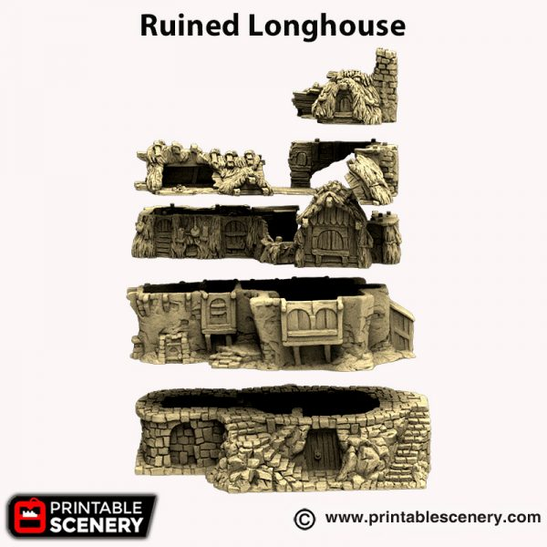 3d printed Ruined Longhouse Hagglethorn Hollow