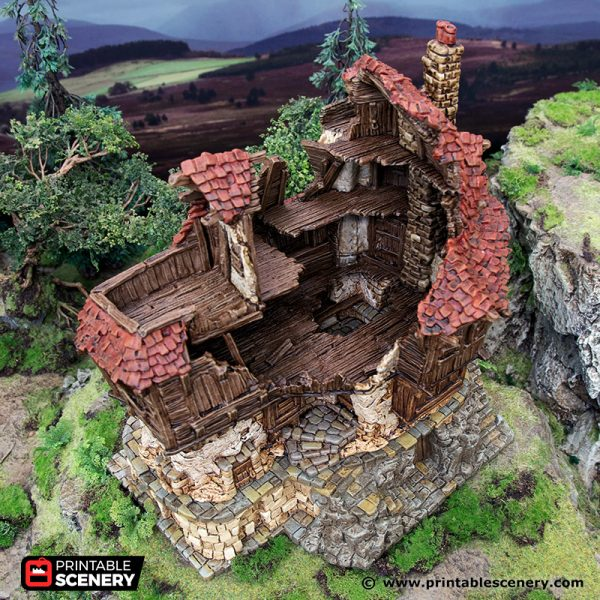 3D Printed Hagglethorn Hollow Ruined Tavern Age of Sigmar Dnd Dungeons and Dragons frostgrave mordheim tabletop games kings of war warhammer 9th age pathfinder rangers of shadowdeep