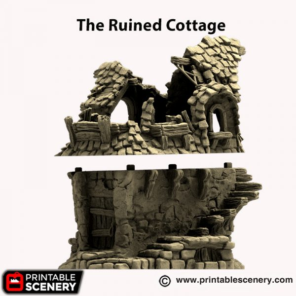 3d printed Ruined Hagglethorn Cottage